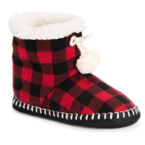 Muk Luks Women's Bootie Slippers, Red/black, Large/X-Large