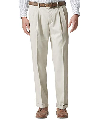 Dockers Men's Relaxed Fit Comfort Khaki Cuffed Pants-Pleated D4, Porcelain Khaki (Stretch), 36W x 32L