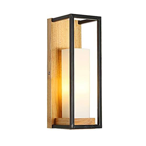 Moderne minimalistische Holzwandleuchte Schmiedeeisen-Rahmen Glasschirm-Wandleuchte Sconces Warm Romantische Schlafzimmer Nachttischlampe Wohnzimmer Hintergrund Restaurant Cafe Bar E27 Wand-Laterne
