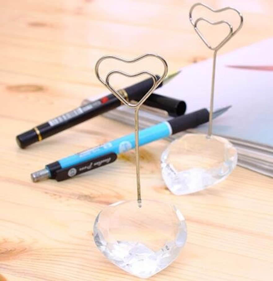 50pcs Elegant White Crystal Love Heart Place card holder Table Number Holder With Card