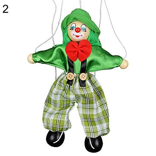 Fliyeong Kinder ziehen String Clown Puppe aus Holz Marionette Handwerk Toy Joint Move Puppe grün kreativ und nützlich