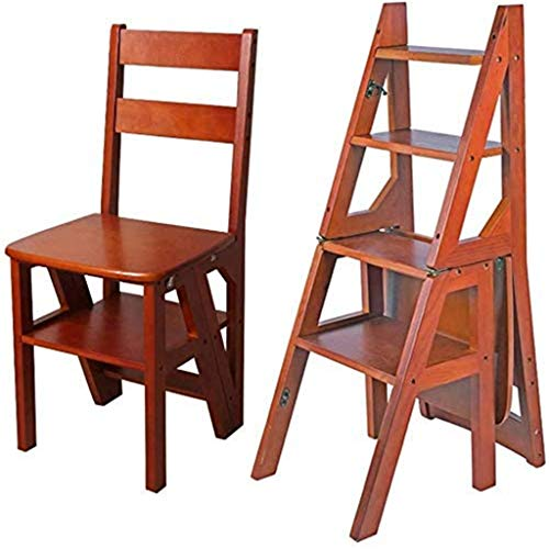 Leitern Klappstufen / Stufenleitern Moderne Möbel Klappleiter Regal Holzklappleiter Fold Up Bibliothek Steps Kitchen Ladder-Anwendungen im Büro Klapptritt (Farbe: schwarz) (Farbe: Nußbaum Farbe) / für
