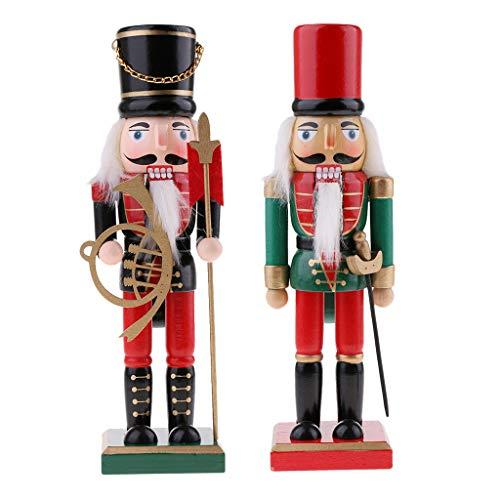 Sharplace 2pcs 25cm Casse-Noisette en Bois Figurine Marionnette Multicolore Peint à La Main Objets de décoration Embellissement pour Maison Table