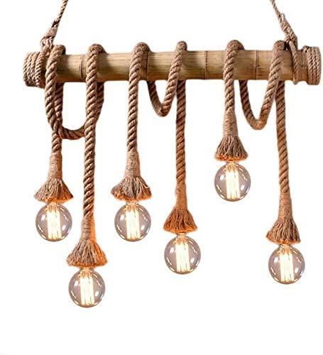 XinQing Lámparas de araña Cuerda de cáñamo industrial lámpara del vintage pendiente de la luz de techo de bambú Lámpara colgante con 6 E27 Zócalo de café de la barra del restaurante Mesa de comedor la