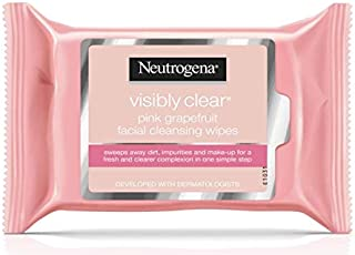 Neutrogena Visibly Clear Facial Cleansing Wipes, Pink Grapefruit, 25-Count (6 Pack)