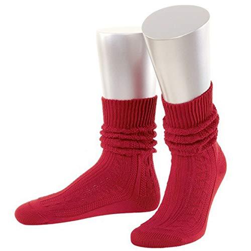 JD Damen Trachtensocken Trachtenstrümpfe Zopf Socken Kurz, 42-44, Rot
