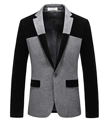 MOGU Men's 1 Button Center Vent Wool Blend Blazer Jacket US Size 42(Tag Asian Size 5XL) Black