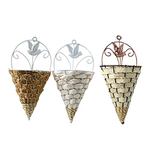 Cabilock 3pcs Wall Hanging Planter Jute Woven Basket Wall Vase Flowers Holder Hanger Wall Decor for Any Modern Home (Mixed Color)
