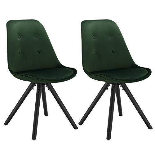 WOLTU BH196dgn-2 2 x Esszimmerstühle 2er Set Esszimmerstuhl, Sitzfläche aus Samt, Design Stuhl, Küchenstuhl, Holzgestell, Dunkelgrün