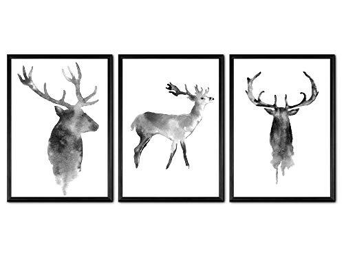 Made by Nami Wandposter Poster Wandbild Schwarz Weiß Kunstdruck - für Wohnzimmer Schlafzimmer Arbeitszimmer - Wanddeko A4 3er-Set Hirsch (A4 mit Rahmen)