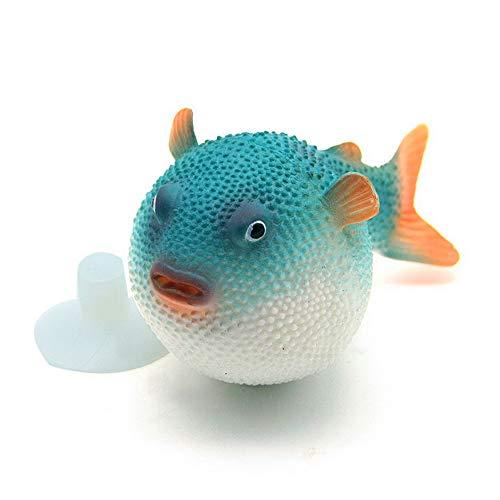 Jushi Artificial pez Globo Blue Fish Tank Decoración de Silicona Puffer Artificial Luminoso Simulación Pescados del soplador