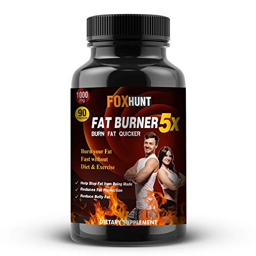 FOX HUNT ADVANCED Fat Burner Natural Weight Loss With Green Tea, L-Carnitine, CLA, Green Coffee Bean & Garcinia Cambogia Extract - 1000 Mg – (90 Capsules)