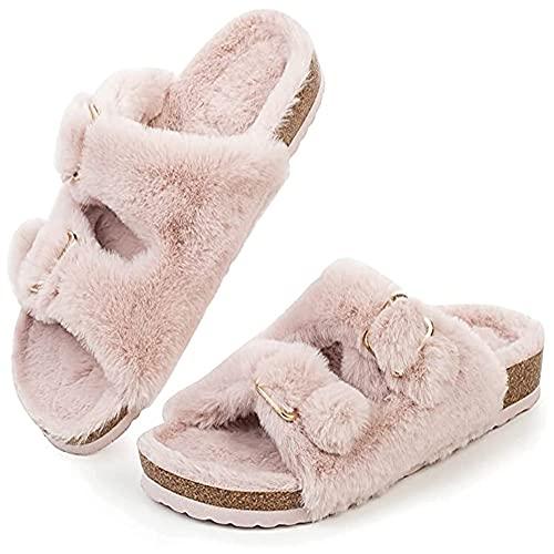 Pantuflas para mujer, de felpa, cálidas, para invierno, cómodas, con suelas gruesas, Rosa., 41 EU
