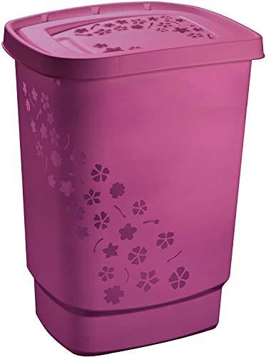 Rotho Flowers, Colector de lavandería 55l con tapa, Plástico PP sin BPA, rosa, 55l 44.7 x 34.7 x 60.5 cm
