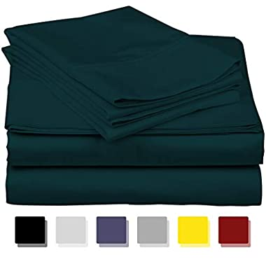 600-Thread-Count Best 100% Egyptian Cotton Sheets & Pillowcases Set - 4 Pc Teal Long-Staple Combed Cotton Bedding Queen Sheet for Bed, Fits Mattress Upto 18'' Deep Pocket, Soft & Silky Sateen Weave