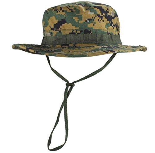 jffcestore Men's Military Camo Boonie Hat Fishing Sun Hat Wide Brim Bucket Hat with Adjustable Strap(Digital Jungle)