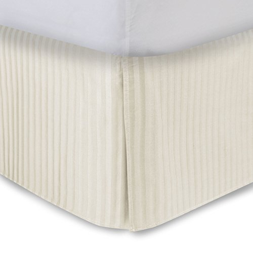 Bone Bed Skirt Queen Bed Skirt 21 Inch Drop, Tailored / Pleated Striped Bedskirt, Dust Ruffle with Split Corners and Platform, Solid Poly / Cotton 300TC Fabric