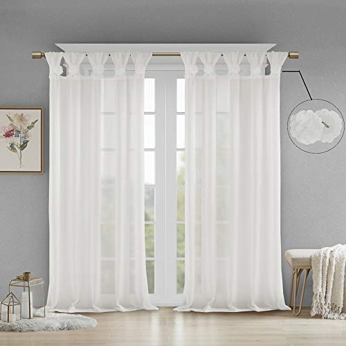 "Madison Park Rosette Floral Embellished Cuff Tab Top Solid Window Treatments Curtain Panel Drape for Bedroom Living Room and Dorm, 50""X63"", White"