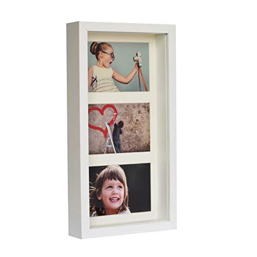BD ART Marco 18 x 35 cm Box 3D para Fotos Color Blanco con Paspartu para 3 Fotos 10 x 15 cm. Frente de Vidrio.