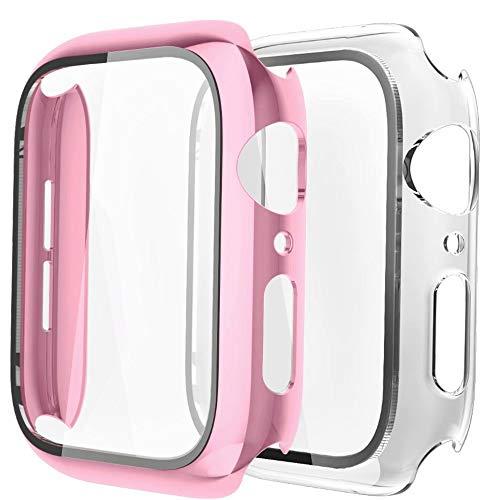 Fengyiyuda Hülle [2 Stück] Kompatibel mit Apple Watch Hülle 42mm mit Anti-Kratzen,Anti-Bläschen TPU Displayschutz Schutzfolie, 360°Rundum Schutzhülle Case für iWatch Series 3/2/1-Rose Gold/Clear