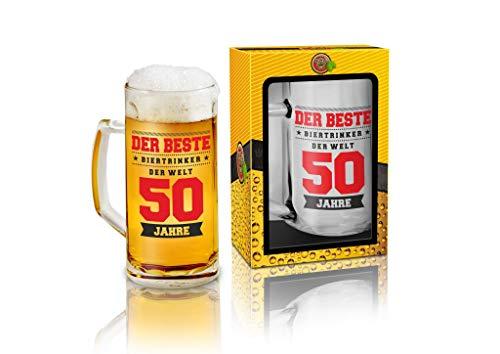 Abc Casa Jarra de cerveza de 0,5 l con texto original para el 50 cumpleaños para hombres – El mejor bebedor de cerveza del mundo 50 años – práctico regalo para niños de 50 años en caja de rega