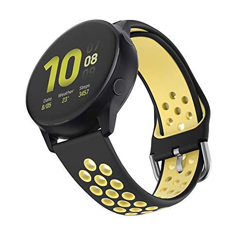 ISABAKE Correa de 20 mm Compatible con Garmin Vivomove/HR, Garmin Vivoactive 3, Galaxy Watch Active 2 Correa de Reloj de liberación rápida de Repuesto de Silicona