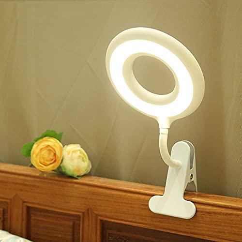 Lámpara de protección ocular moderna,luz de clip LED giratoria,luz de lectura con clip recargable USB,lámpara de escritorio con abrazadera de atenuador de brillo de 10 niveles para trabajos de est