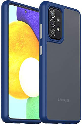 Ferilinso Anti-Fingerprint Designed for Samsung Galaxy A52 4G&5G Case, [Translucent Matte Hard PC Back with Flexible Frame] [Shock Absorbing&Scratch Resistant] [10X Anti-Yellowing]-BlueCover