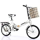 QINYUP Folding Bicycle,20 Inch bikes for adults,Women'S Light Work Adult Adult Ultra Light Variable Speed Portable Adult Small Student Male Bicycle Folding Carrier Bicycle Bike,White