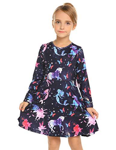 Kleid Mädchen Langarm Einhorn Meerjungfrau Blumen Herbst Karikatur Prinzessin T-Shirt Kleider Freizeitkleidung, Muster 3, 110 / 4-5 Jahre