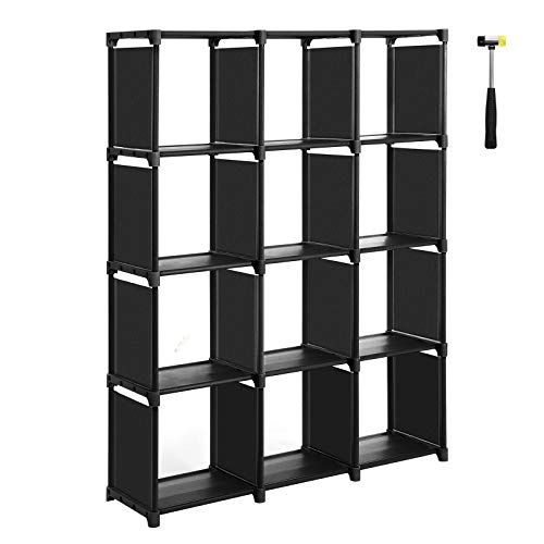 """SONGMICS Cube Storage, 12-Cube Bookcase, Closet Organizer, Storage Shelf in Living Room, Kid's Room, for Toys and Daily Necessities, 41.3""""L x 11.8""""W x 55.1""""H, Bonus Rubber Mallet, Black ULSN12BK"""