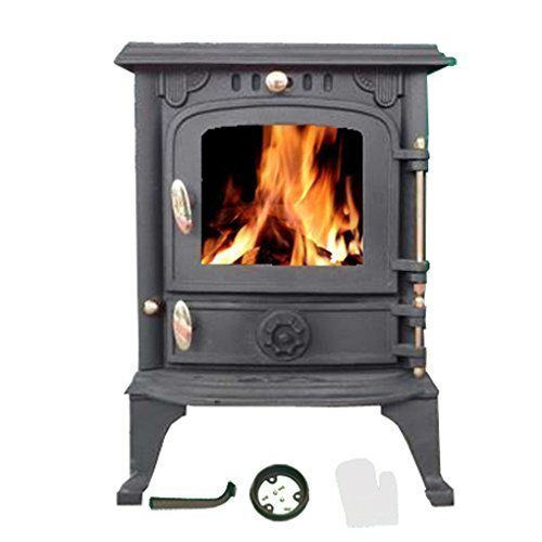 FoxHunter Hillford 5.5KW Cast Iron Log Burner | Traditional Wood Burner Multifuel Stove Heater | FREE Heat Proof Oven Mit | Bronze Handles Indoor Home Heating Log Cabin Fireplace - JA013S