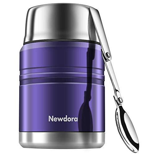 Newdora Food Flask Thermosspeisebehälter Edelstahl Isolierte Essensbehälter mit Faltlöffel, Lebensmittel Becher, Vakuum-Doppelwandig BPA-frei, auslaufsicher 17 Unze(Blue)
