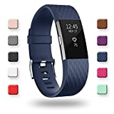 POY Replacement Bands Compatible for Fitbit Charge 2, Special Edition Adjustable Sport Wristbands, Large Navy