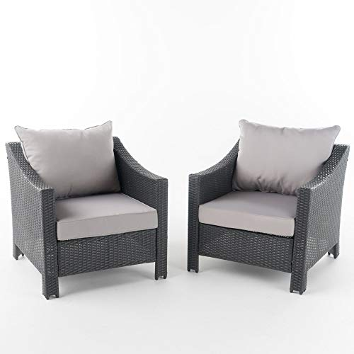 Set of 2 Gray and Silver Contemporary Outdoor Patio Club Chairs 33.5'