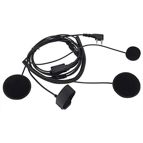 Bewinner Finger PTT Radio Walkie-Talkie Auricular – Casco de Motocicleta Micrófono Headset K Head – Altavoces Dobles Mejora el Sonido, Equipado con Cinta montada en el Manillar