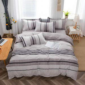 Bishilin Duvet Cover Set,Bed Sheet Set 4 Piece,Fabric Bed Set For Your Family Soft, Breathable, Grey Bedding Covers, Stripe Lightweight, Sheet Duvet Cover & Pillowcase Bed Set