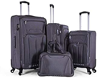 Giordano Luggage - 1617726 Soft Case Trolley 3 Pcs Set With Beauty Case With 4 Wheel, Grey, Unisex