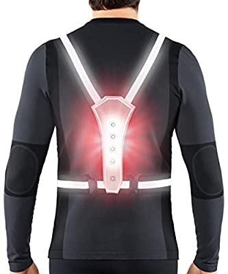 AIWOIT Reflective Running Gear, Safety Vest for Men/Women Running, Cycling or Walking, High Visibility Warning LED Lights with Adjustable Elastic Belt