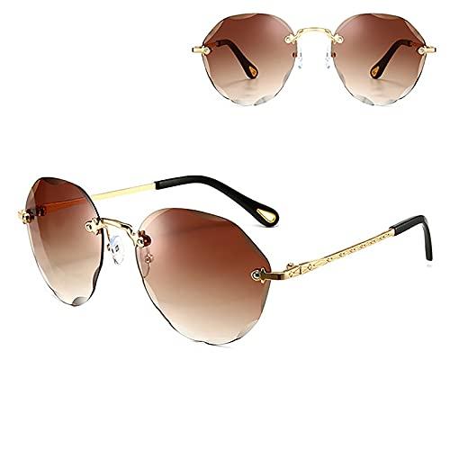 Gafas de sol de protección UV para mujer, sin montura de protección UV, adecuadas para ciclismo, correr, viajes, playa, pesca, color marrón
