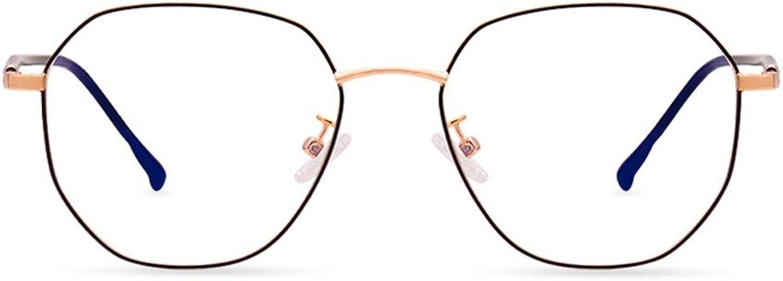 bluee Light Blocking Glasses Retro Metal Glasses Frame Polygon Male Lady Fashion Irregular ZHAOSHUNLI (color   Black gold)