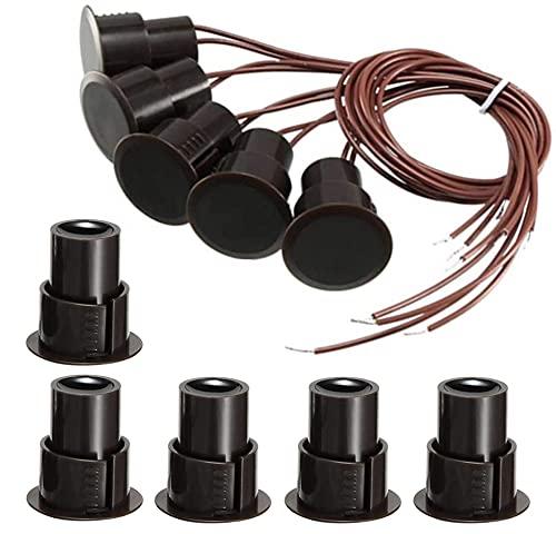 GUUZI 5 piezas RC-36 Empotrable NC Alarma de Seguridad Puerta Ventana Sensor de Contacto Interruptor Magnético para Puerta de Hierro (Marrón)