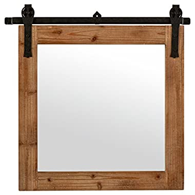 Stone & Beam Square Vintage-Look Sliding Mirror, 31.25 H, Natural