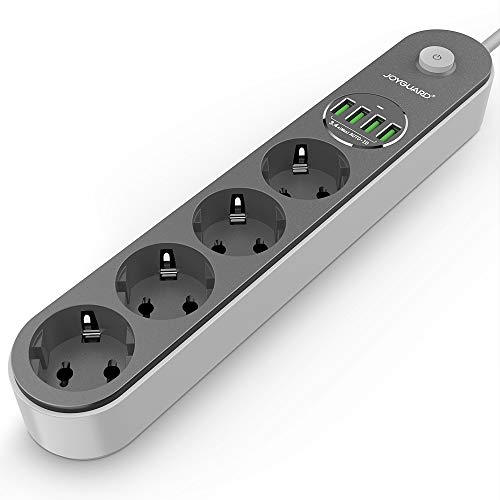 Joyguard Multiprise USB, Multiprise Parasurtenseur Parafoudre 4 Prises avec 4 Ports USB Power Strip avec Interrupteur Surtension-Cordon de 2m-Noir
