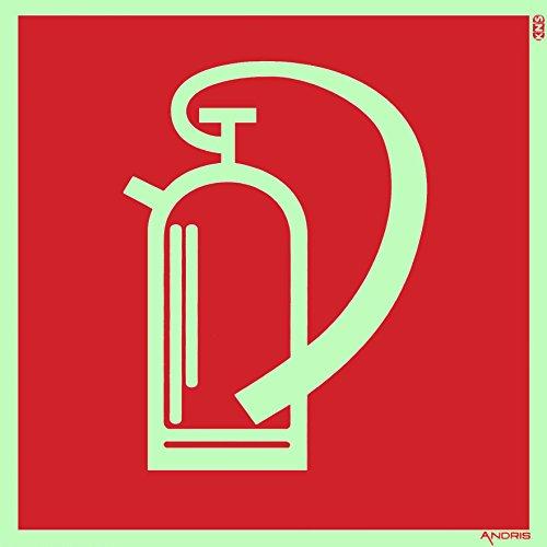 Symbolschild Feuerlöscher Orig. ANDRIS® DIN, BGV A8 Kunststoffplatte nachleuchtend + selbstklebend 150x150mm
