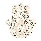 GLOBLELAND 31 CM Hamsa Mano de Madera Arte de la Pared Geometría Sagrada Decoración del Hogar Escultura de Pared de Madera Cortada con Láser para el Hogar Oficina Decoración