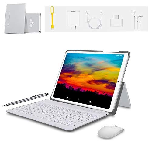 Tablet 10 Zoll FHD+Display 4GB RAM 64GB ROM Android 9.0 Zertifiziert von Google GMS 4G LTE Tablet PC Quad-Core 8500mAh Dual-SIM Dual-Kamera 8MP Tablets mit WiFi,Bluetooth,GPS,OTG(Silber)