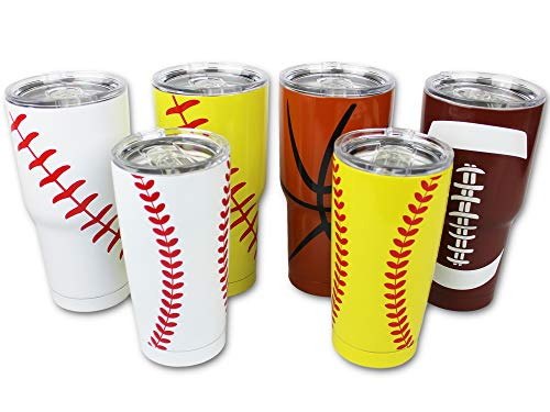 Basketball Tumbler Cup 30 oz with Lid, Straw and...