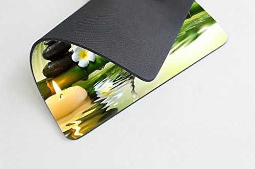 Smooffly Nature Gaming Mouse Pad,Spa Stones in Garden with Flow Water Mouse Pad Personality Desings Gaming Mouse Pad Zen Garden Theme Magical Jasmine Flower Japanese Design Photo #2