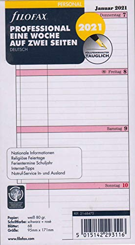 Filofax 2021 Kalender Personal A6 Kalendarium 1Woche 2Seiten Wochenblätter Professional DEU 21-68475